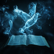 smoke dove over pages of a Bible