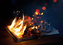 a burning Bible