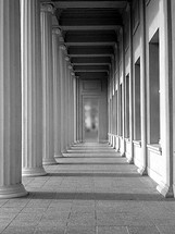arcade in sunlight - monochrome, 
