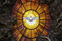 Holy spirit dove in stained glass