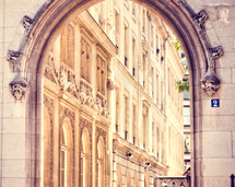 Paris apartments and archway