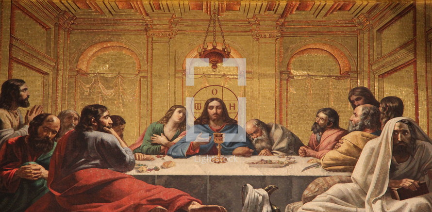 Painting of the last supper. Jesus in the Upper Room.