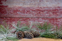 pine cones and greenery
