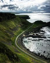 winding road along a shoreline