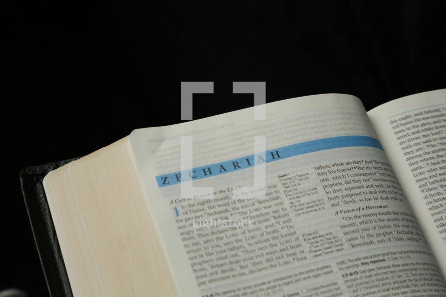 Open Bible in the book of Zechariah