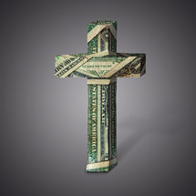 cross made with dollar bills