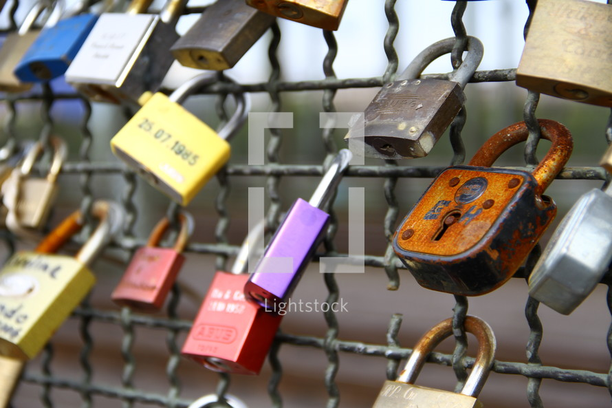 Padlocks on a chainlink fence.