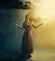 contrast, woman standing under a rain and sun
