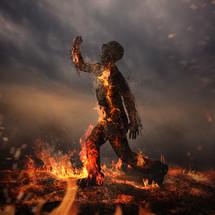 a man burning