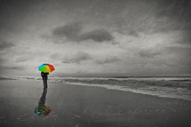 man walking on a beach in the rain with a rainbow colored umbrella
