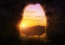 three crosses at sunrise from the empty tomb