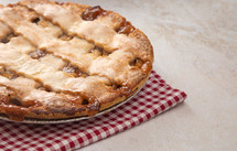 lattice Topped Apple and Caramel Pie