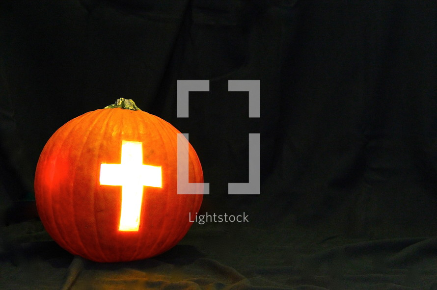 Light of the World Pumpkin with Cross of Jesus