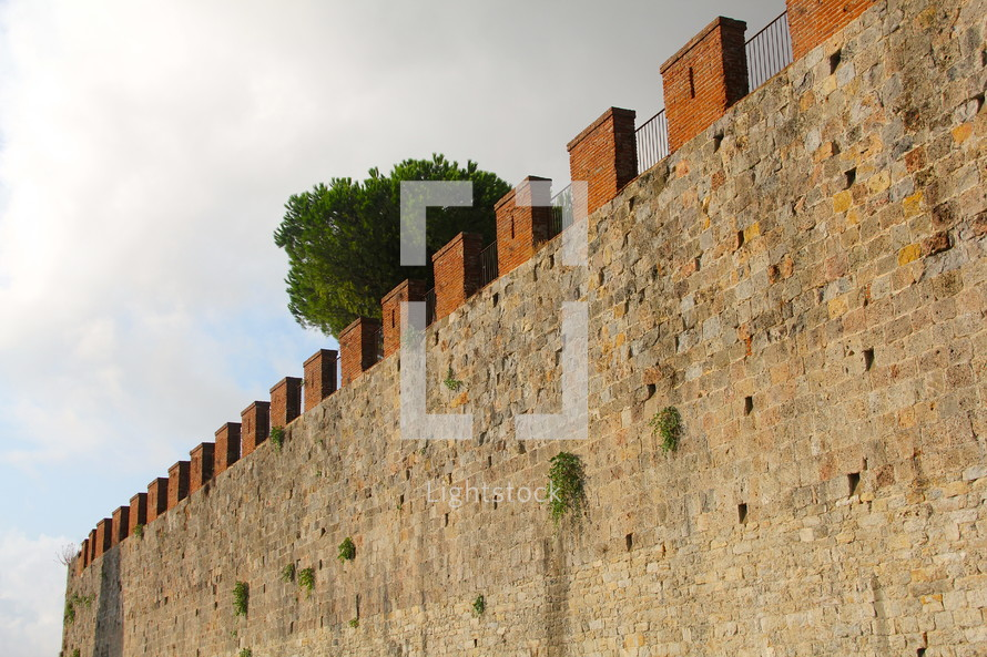 A fortress wall around an ancient city