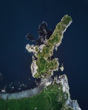 aerial view over an island
