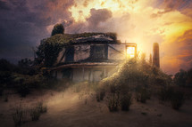 sunlight shining on an abandoned house in ruins