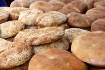 Pile of baked bread in an Arab Market