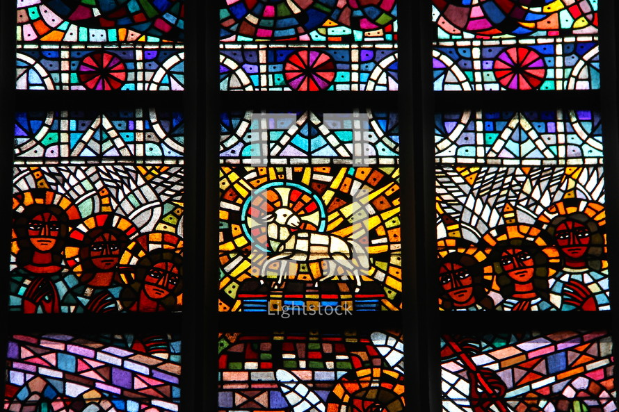 Stained glass window depicting the Lamb of God