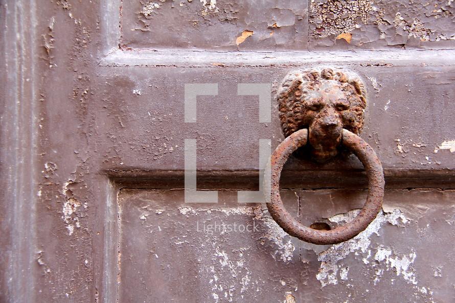 Rusted Lion door pull on weathered, antique, brown painted, door