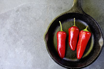 red hot chili peppers in a pan