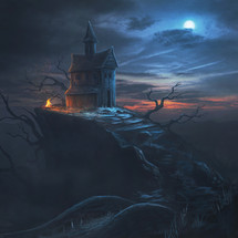 A small house on top of a hill on a cold night