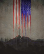 a cross under a dripping American Flag