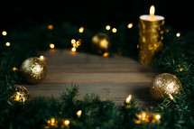 lights, candle, gold, ornaments, pine garland border