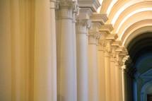 columns in a long hallway