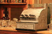 Antique cash register. The source of the expression 'Ka Ching!'.