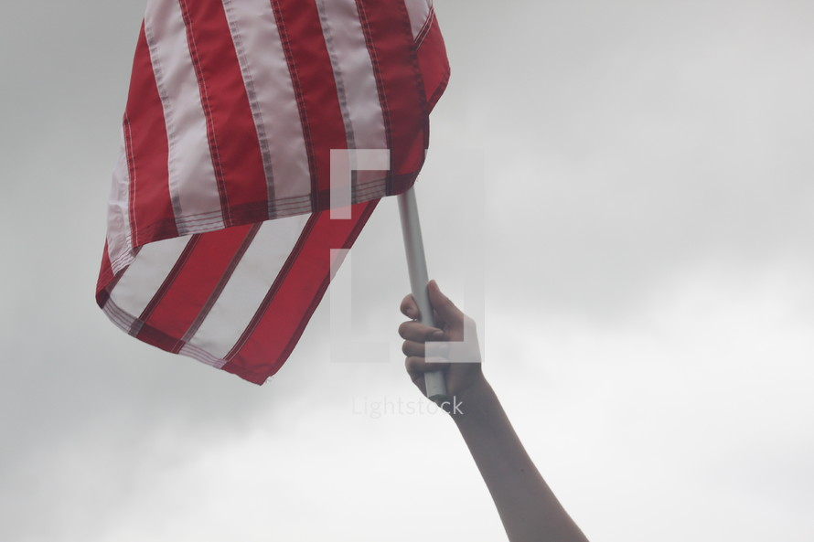 hand holding an American flag.