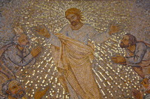 Tile mosaic of Jesus appearing to the disciples