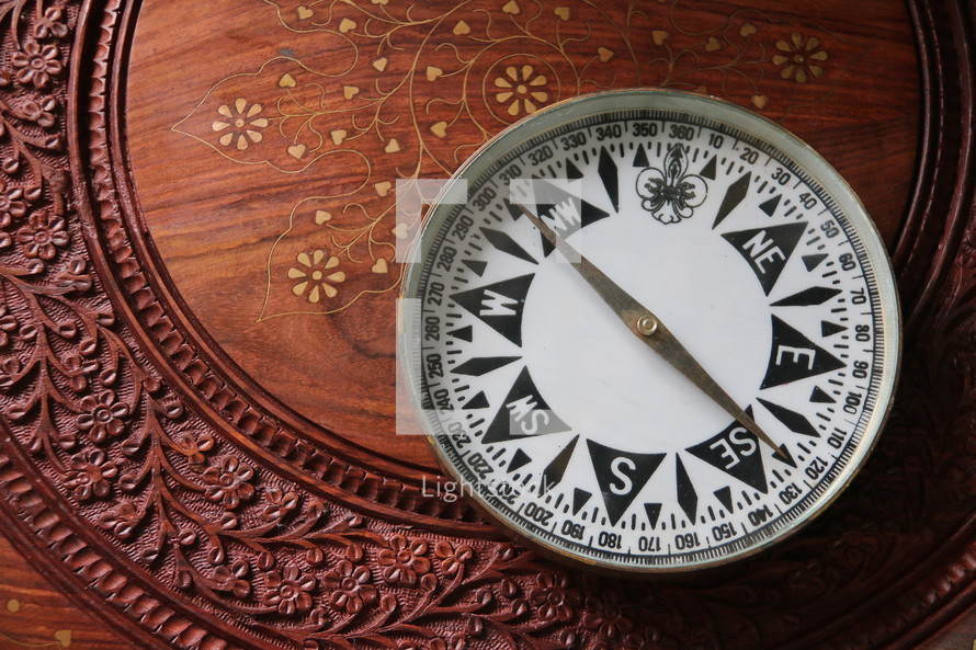 Magnetic compass on oriental wooden desk