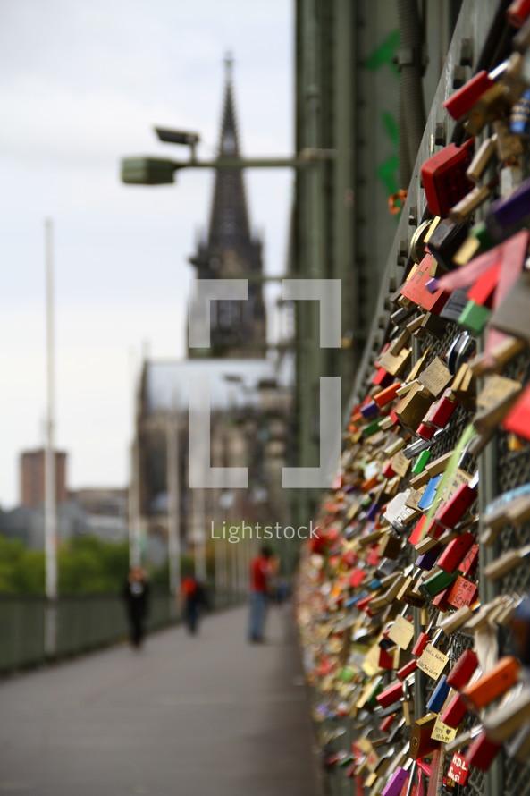 Love locks on a fence.