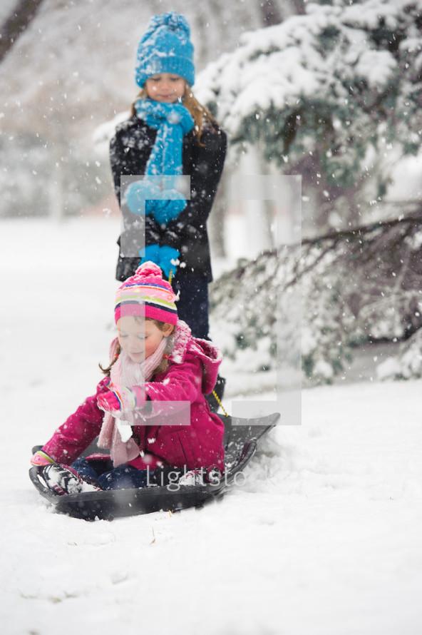 children in the snow