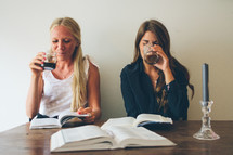friends reading Bibles together