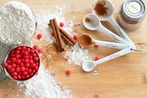 baking, flour, cinnamon, candies, measuring spoon, Christmas, cookies, dessert