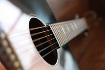 strings on an acoustic guitar