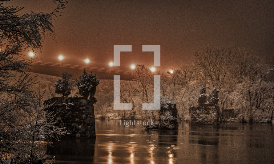 bridge in an ice storm at night