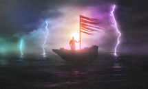 a man on a boat holding the sail while sailing in a storm