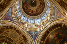 paintings on a dome in a cathedral