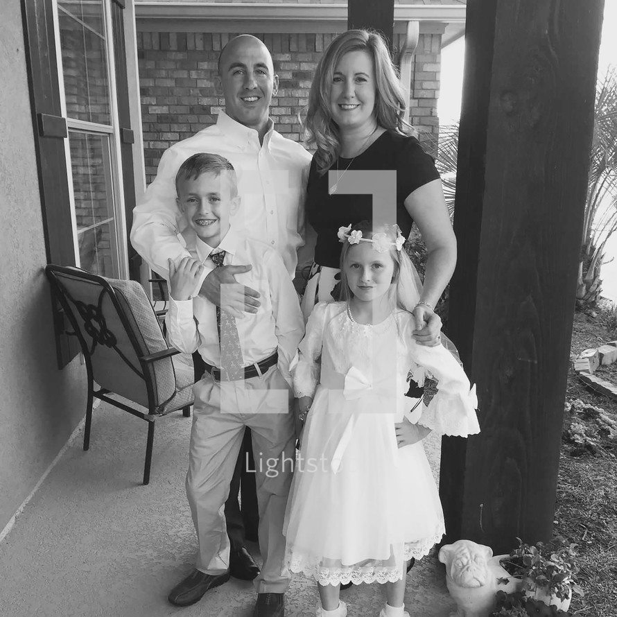A family portrait before children's first communion