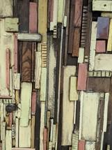 patchwork of wood scraps