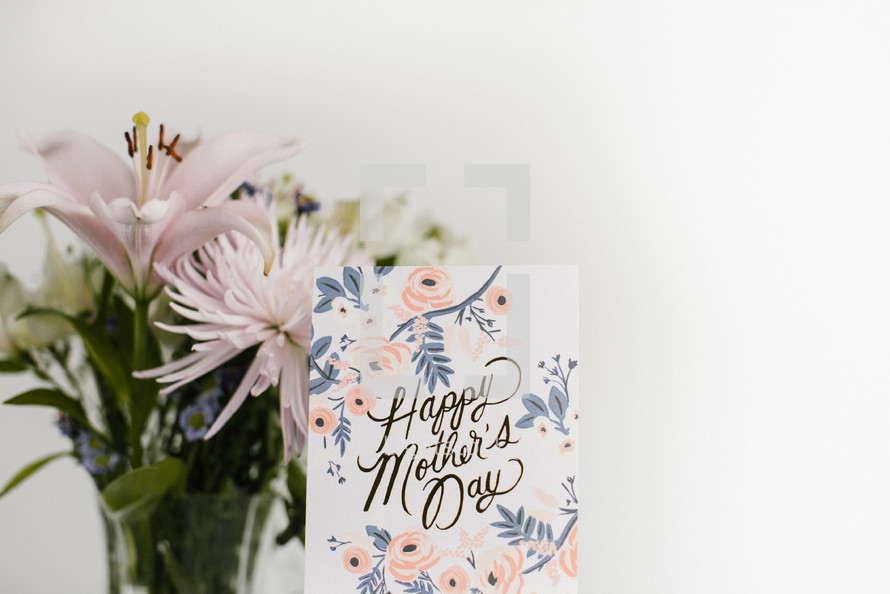 happy mother's day card and flowers
