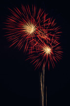 Red and gold fireworks explode in the night sky.