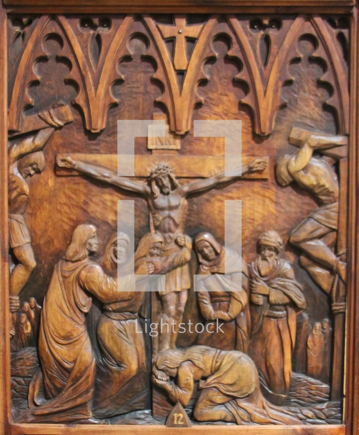 wooden carving - stations of the cross 12, Jesus dies on the cross