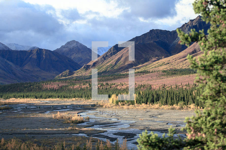 stream and mountains