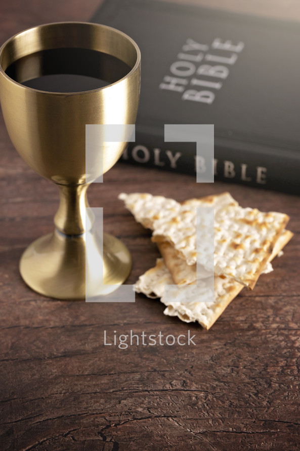 Holy Communion or the Lords Supper Prepared on a Dark Wood Table