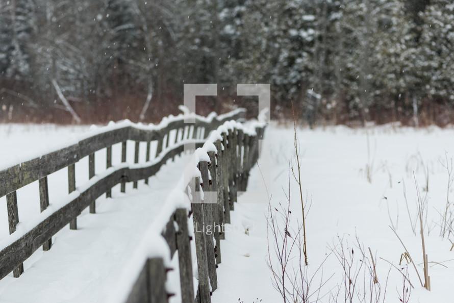 footbridge covered in snow