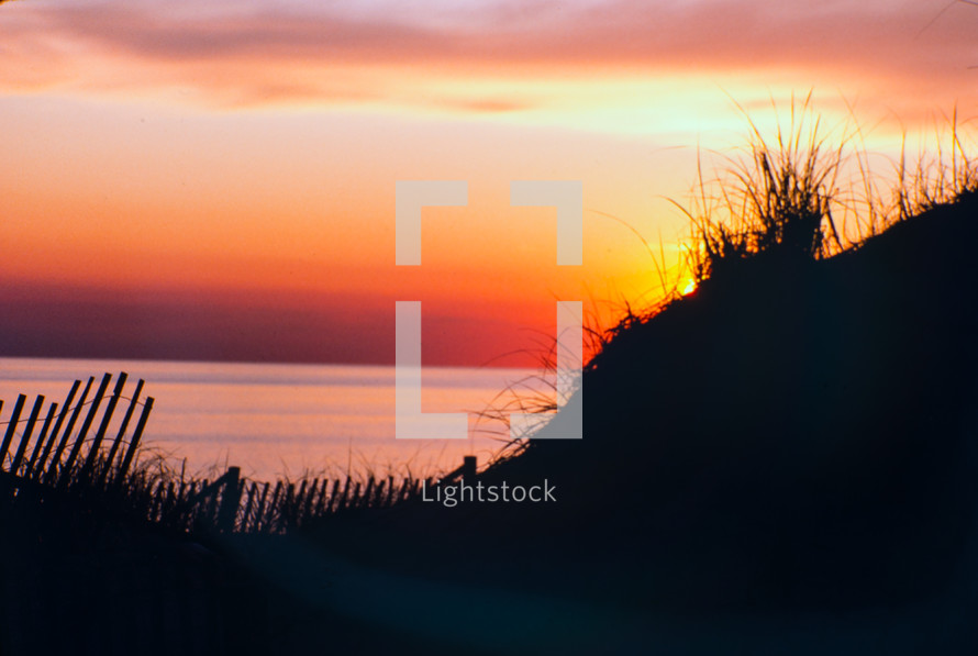 Sunset over sand dunes, Great Island, Cape Cod, Massachusetts