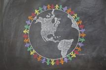 Drawing of earth rainbow on chalkboard.